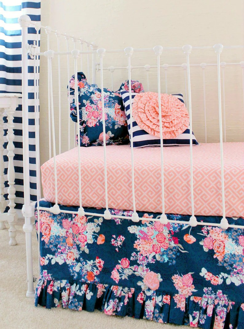 Baby Cot Sets Australia Navy Floral Crib Bedding Baby Girl Bedding Coral And Navy Baby Bedding Bumperless Crib Set Stripe Floral Bedding Girls Navy Bedding Set