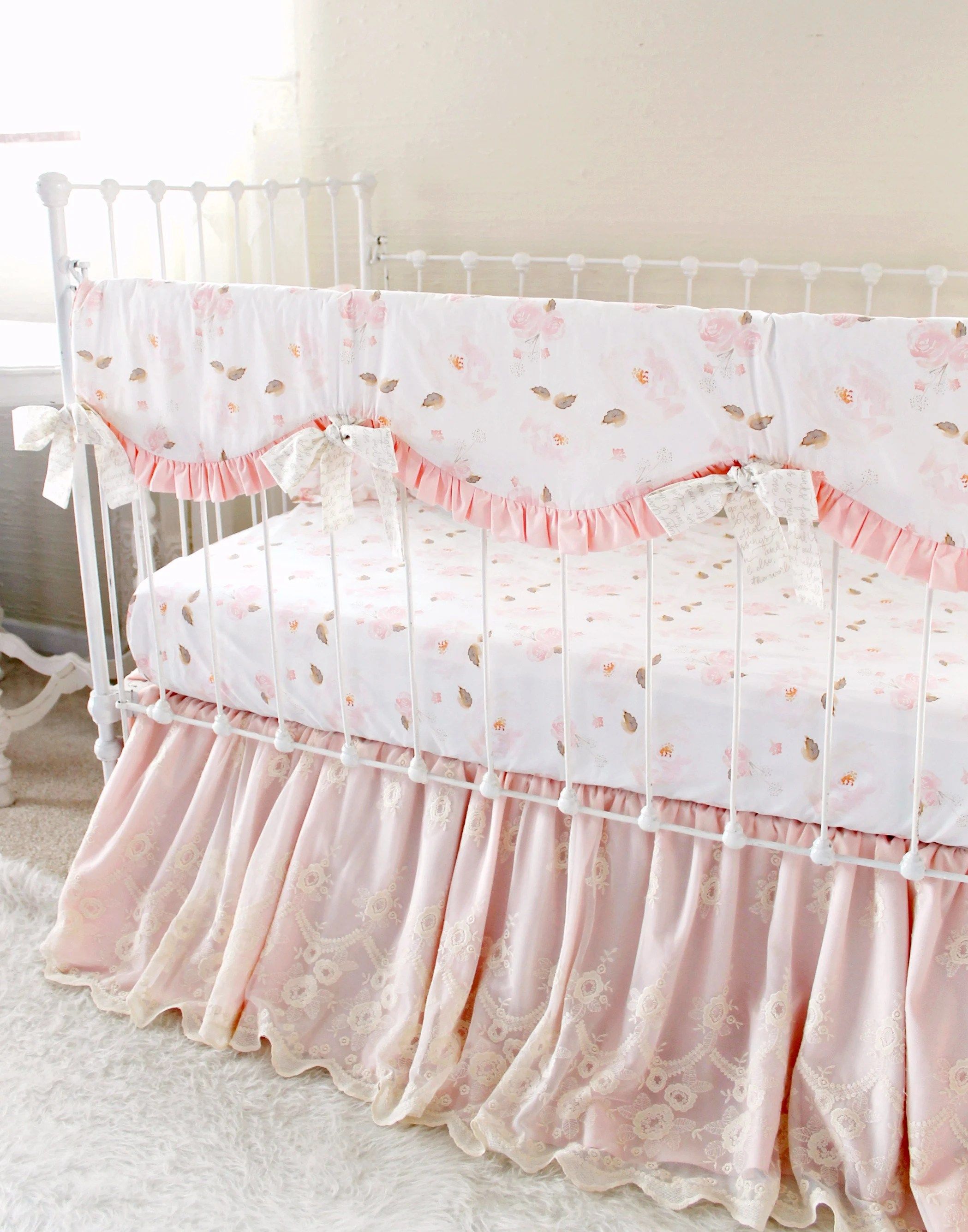 Full Crib Bedding Sets Baby Girl Crib Bedding Set Farmhouse Style Nursery 3pc Crib Set Pink And White Crib Rail Cover Floral Crib Sheet Lace Crib Skirt