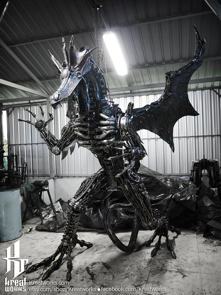 Giant Dragon Statue Recycled Metal Giant Dragon Made To Order
