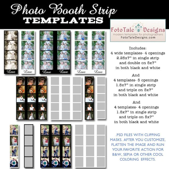 INSTANT DOWNLOAD Photo Booth Strip Template Set Set of 12 Etsy