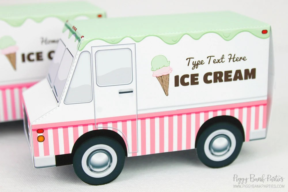 Ice Cream Truck Favor Box  Print at Home Full-Color Template Cone