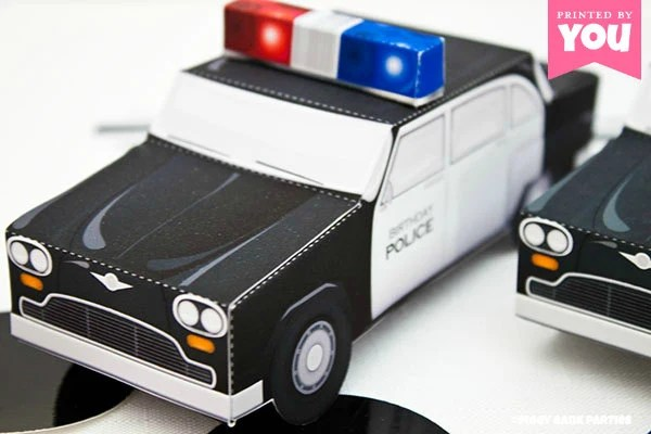 Police Car Favor Box  Print at Home Full-Color Template Cop Etsy