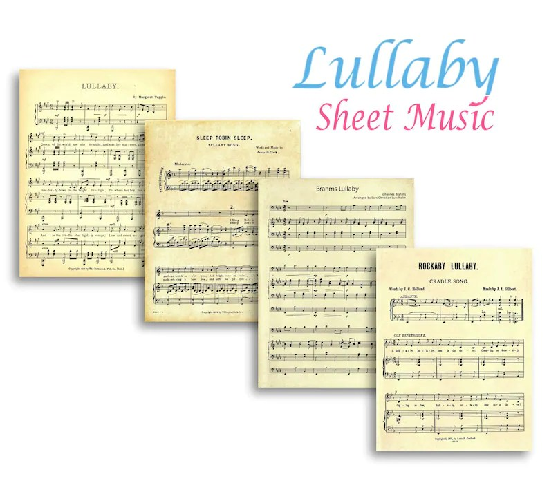 Printable LULLABY SHEET MUSIC White Background not aged Etsy