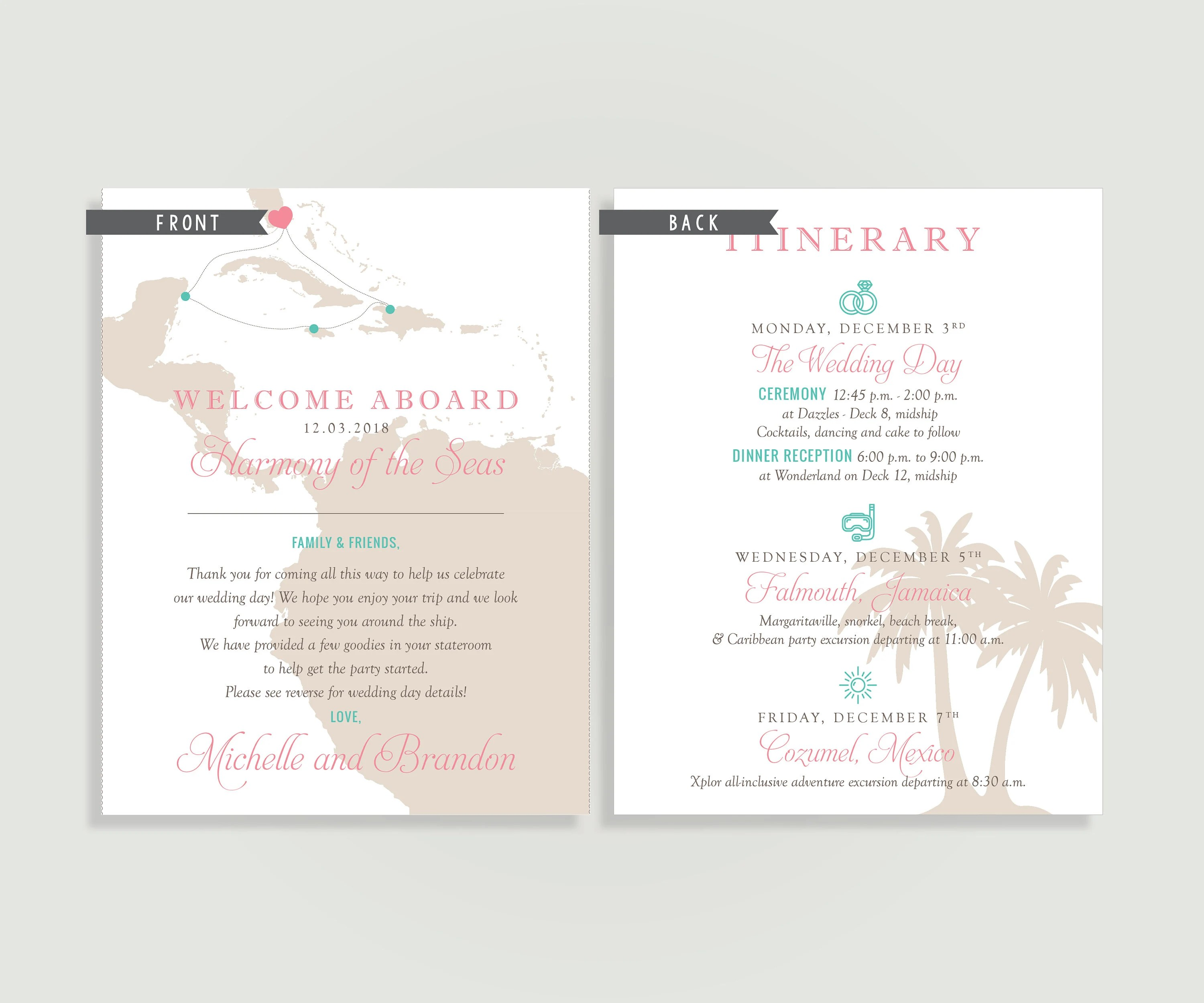 Cruise Wedding Welcome Note Welcome Letter Caribbean Etsy