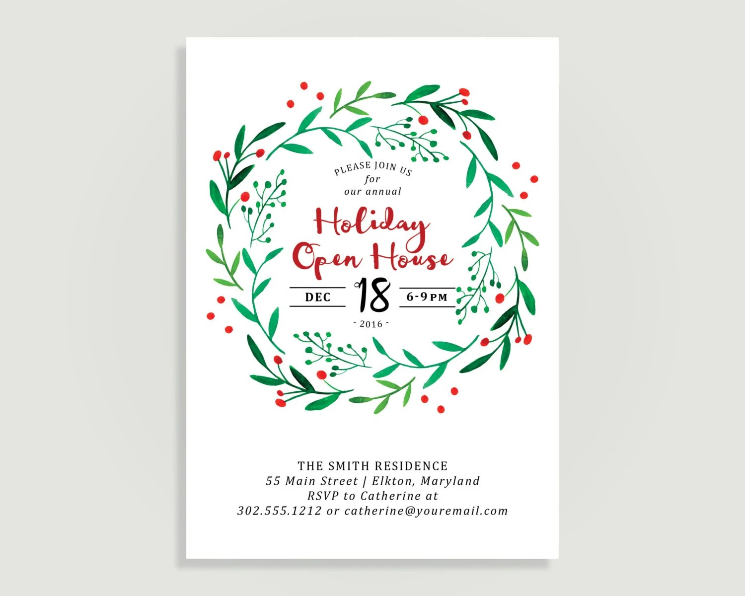 Holiday Open House Invitation - Christmas party - Water Color Holly