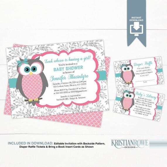 Girl baby shower invitation owl template woodland baby shower Etsy