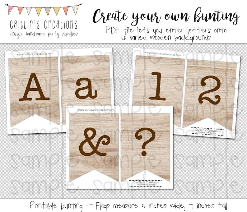 Create Your Own Bunting Light Wooden Background Bunting Etsy