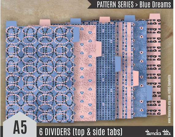 A5 Filofax Dividers Blue Dreams Pattern Series Top And Etsyfree