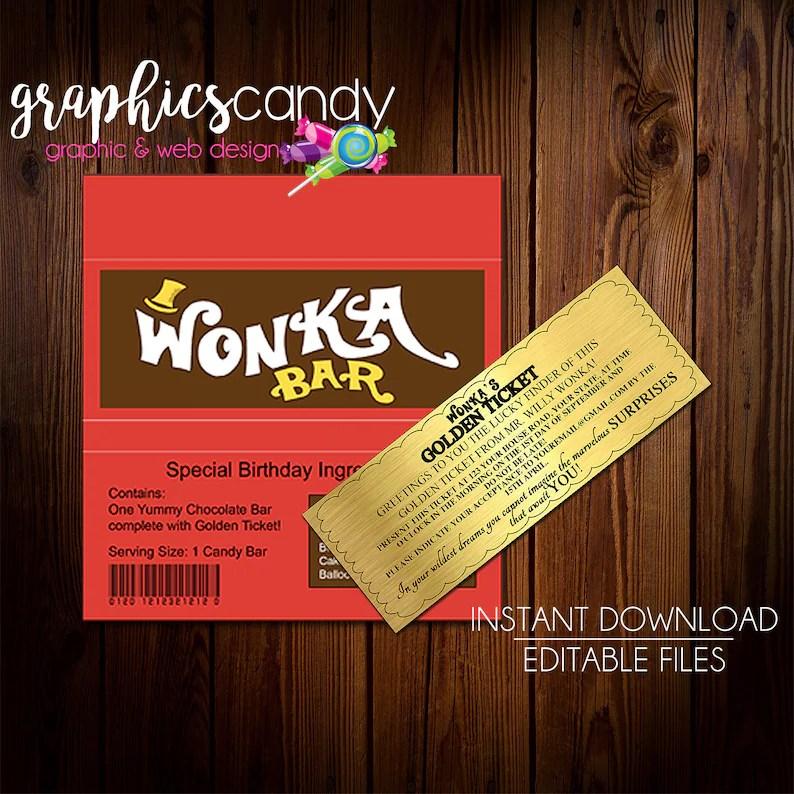 Willy Wonka Golden Ticket Invitation  Chocolate Wrapper Etsy