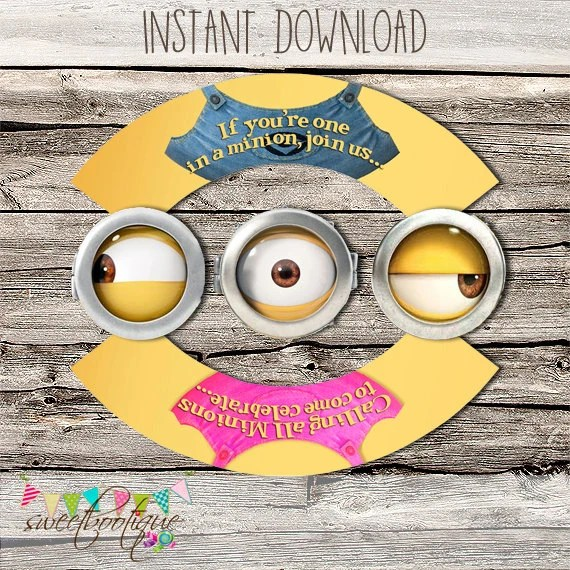 Minions Cupcake Wrapper  Topper - Girl and Boy - Birthday Party or