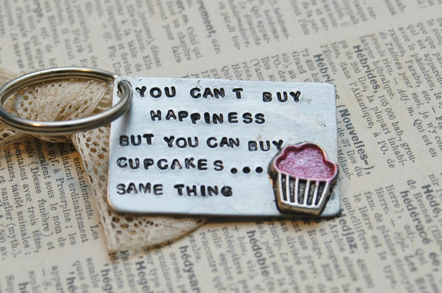 La Table Rouge Rennes Hand Stamped Cupcake Keychain You Can T Buy Happiness By Inspired Jewelry Designs