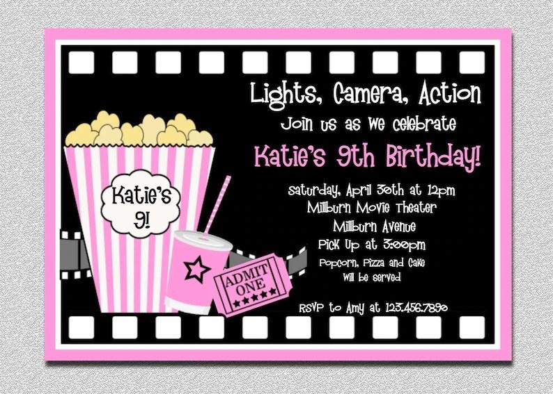 Movie Birthday Invitations Pink Movie Night Birthday Party Etsy
