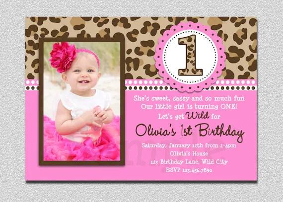 Leopard Birthday Invitation 1st Birthday Party Invitation