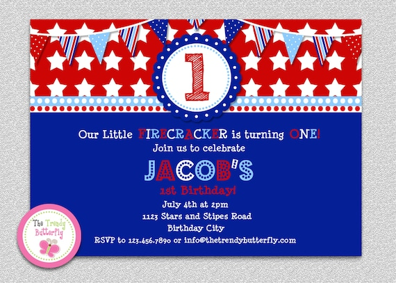 4th of July Firecracker Red White Blue Birthday Invitation Boys or