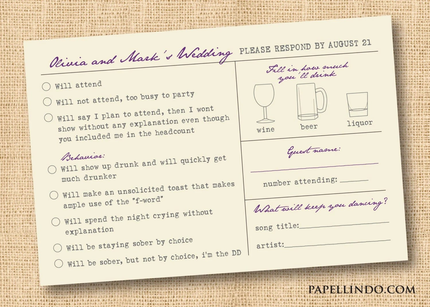 Funny vintage wedding Mad Libs reply RSVP card printable Etsy
