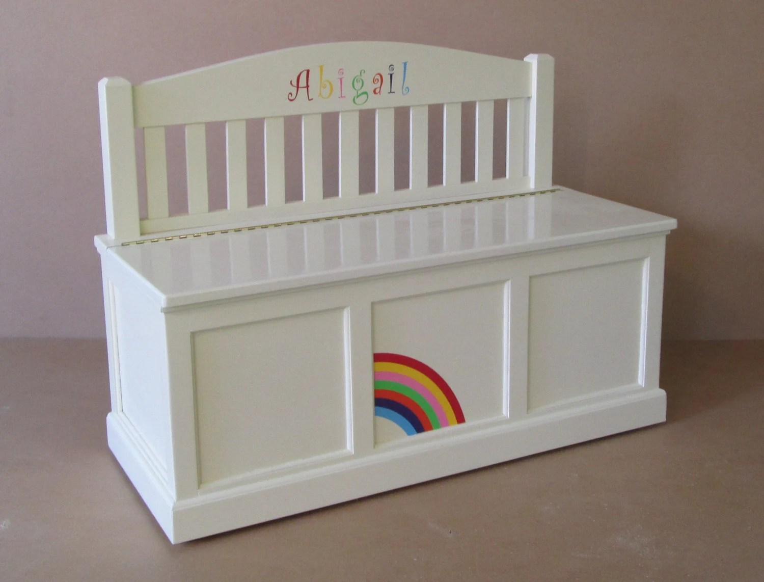 Wooden Toy Chest Bench Antique White Rainbow Etsy