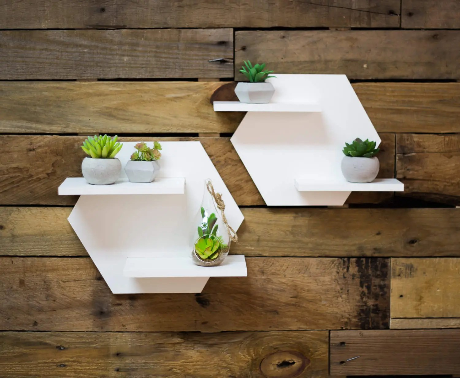 Home Decoration Collection Hexagon Shelf Set For Wall Home Decoration White Shelves For Wall Plant Holder Minimalist Style Room Wall Decor Artwork Item Hes520