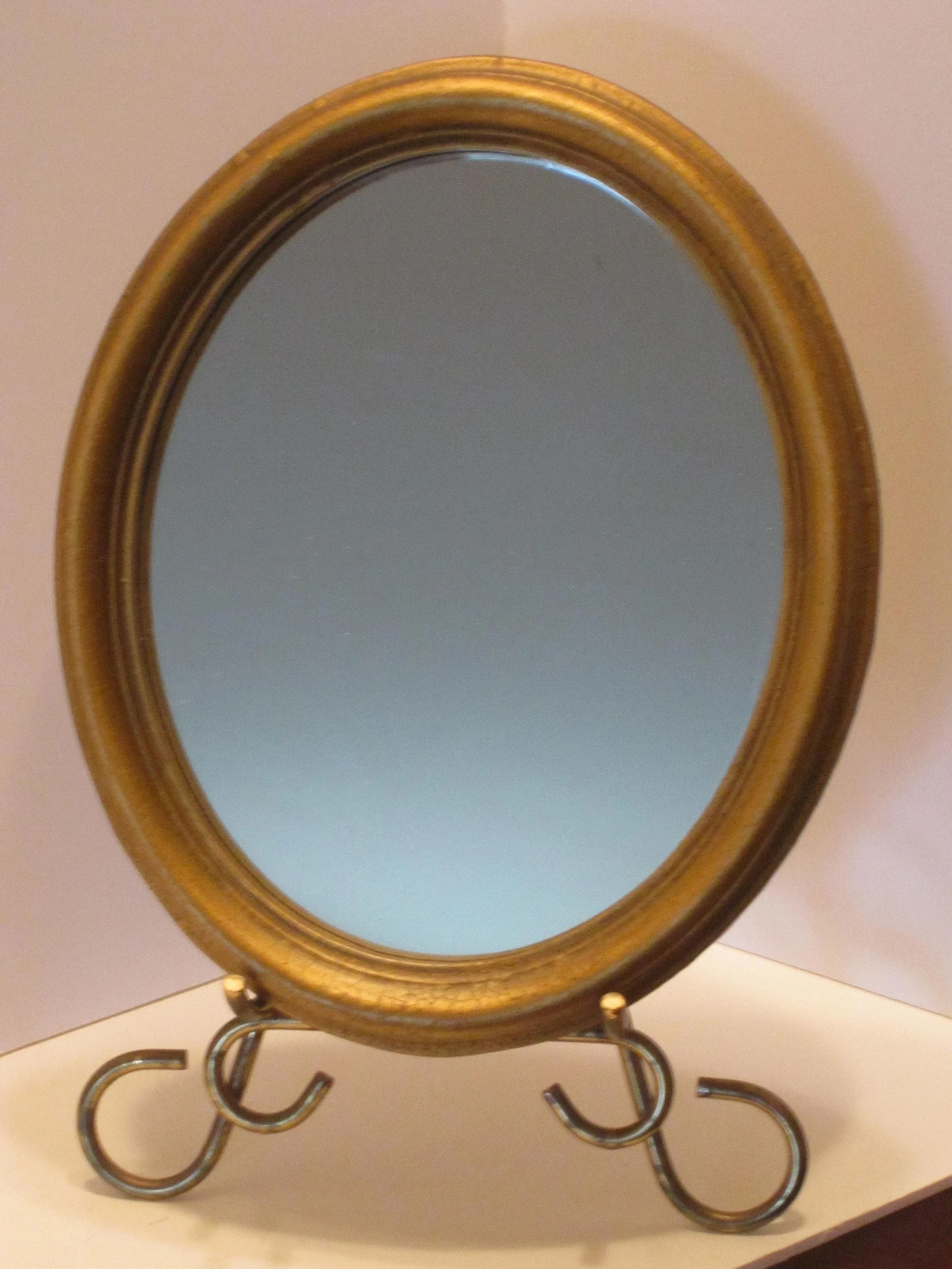 Oval Mirror Wood Frame Antique Gold Framed Oval Mirror Faux Wood Frame With Oval Mirror Home Wall Decor 1970s Decor Hollywood Regency