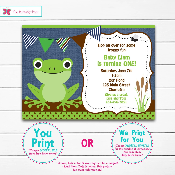 Items similar to Frog Birthday Party Invitation Frog first Birthday