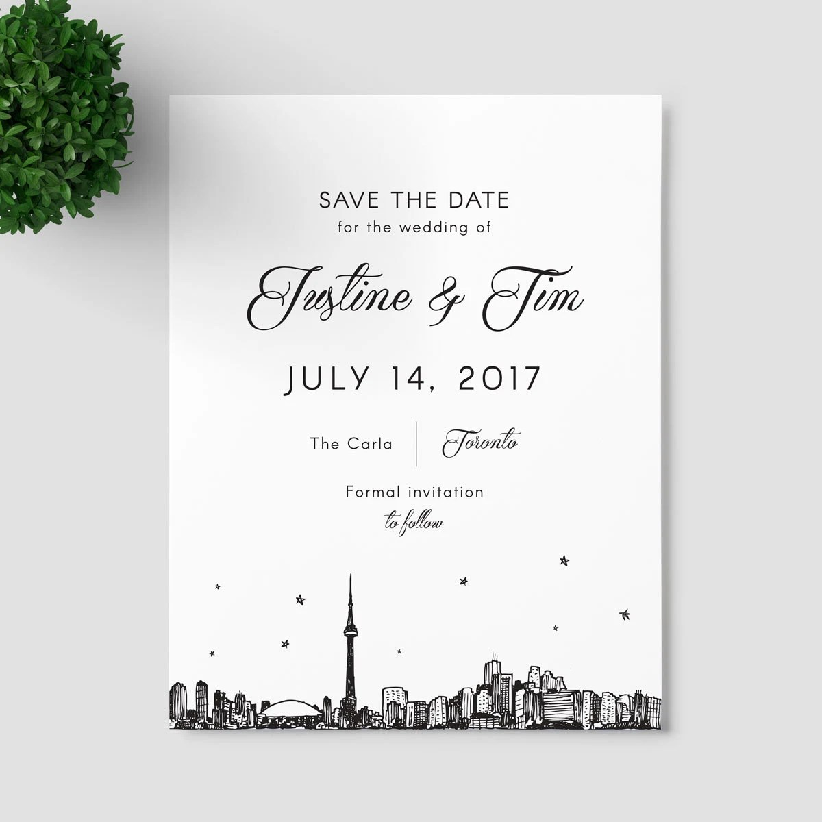 Toronto Skyline Save the Date SAMPLE ONLY Canada Etsy