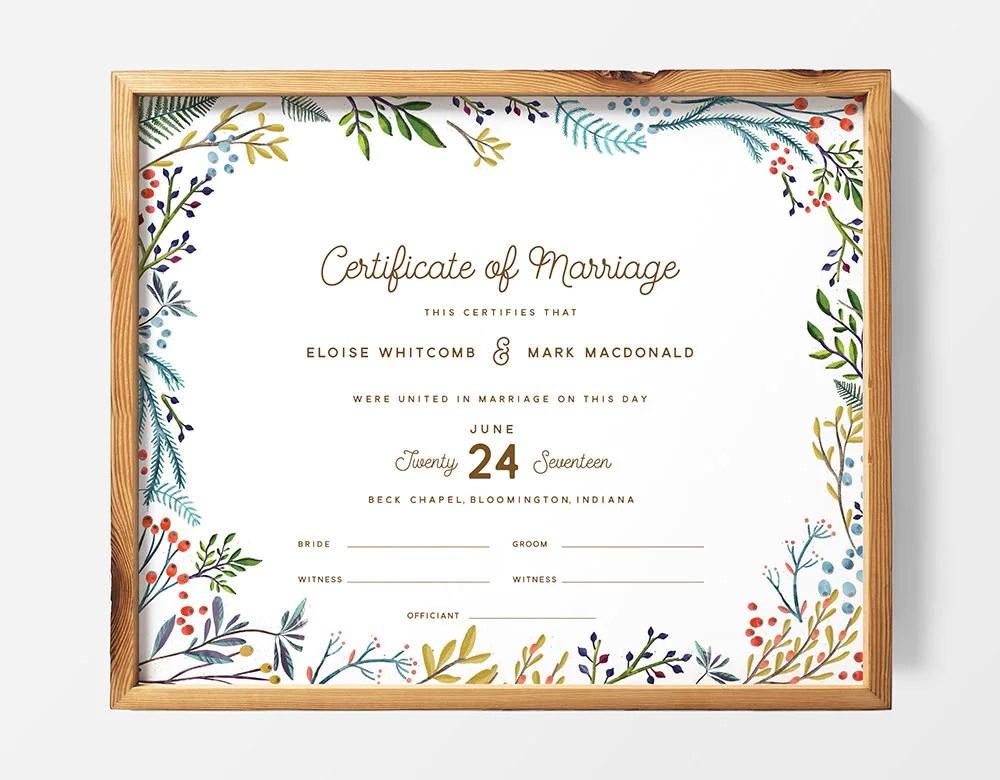 PRINTABLE Custom Marriage Certificate Wedding Certificate Etsy