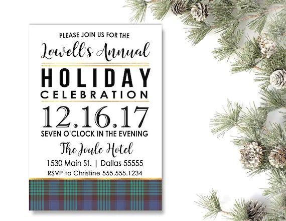 Company Holiday Party Invitations Christmas Cocktail Dinner Etsy