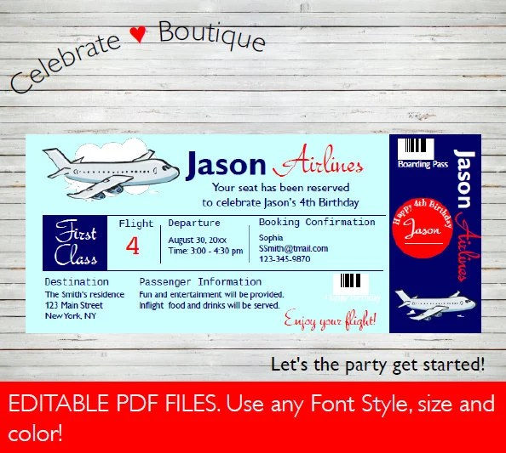 Airline Ticket Invitation Birthday Party Invitation Baby Etsy