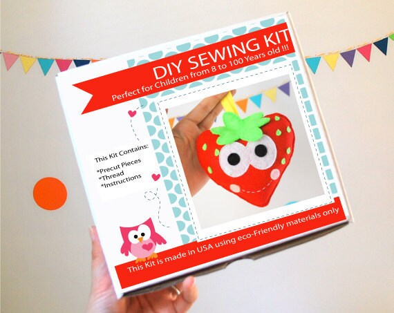 Strawberry Sewing Kit Felt Kids39 Crafts Felt Sewing Kit