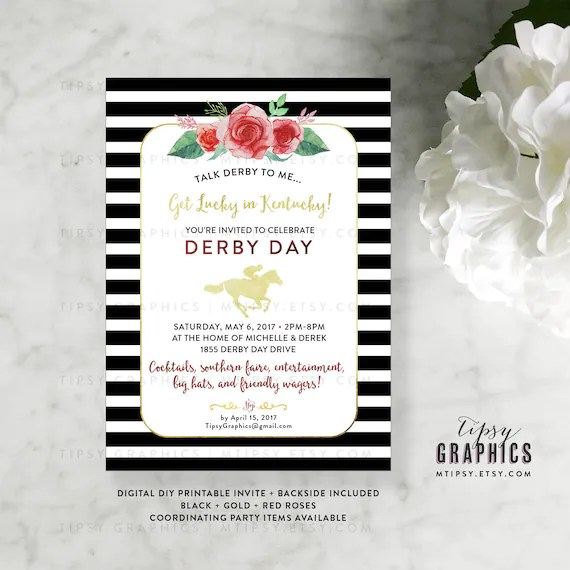 Kentucky Derby Race Day Party Invitation Get Lucky in Kentucky