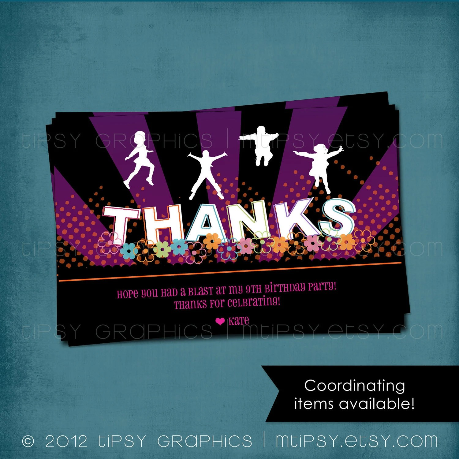 Thank You Note JUMP Trampoline or Bounce House Birthday Party Thank