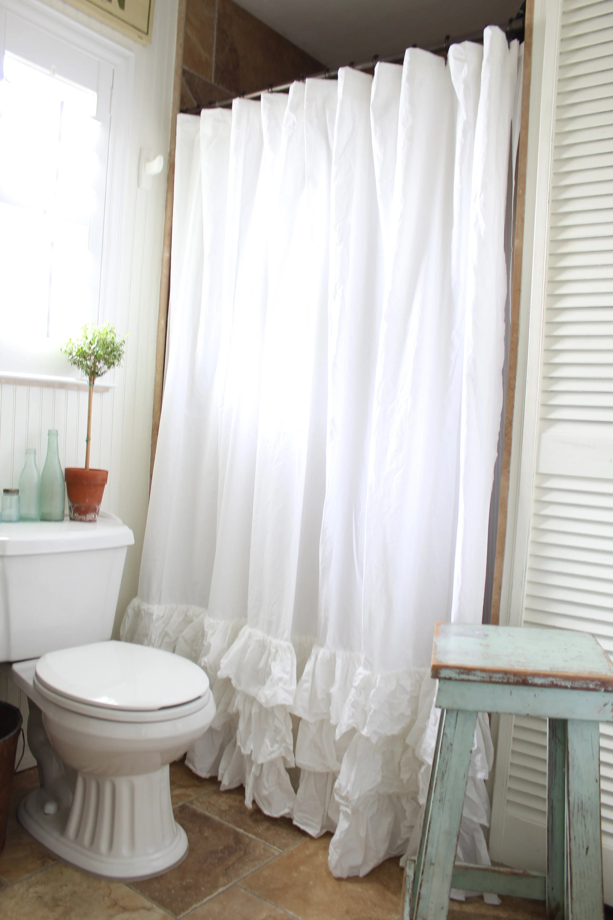 Cottage Shower Curtain White Ruffled Shower Curtain With Rows Of Tattered Ruffles Shower Curtains Farmhouse Decor Farmhouse Cottage Decor