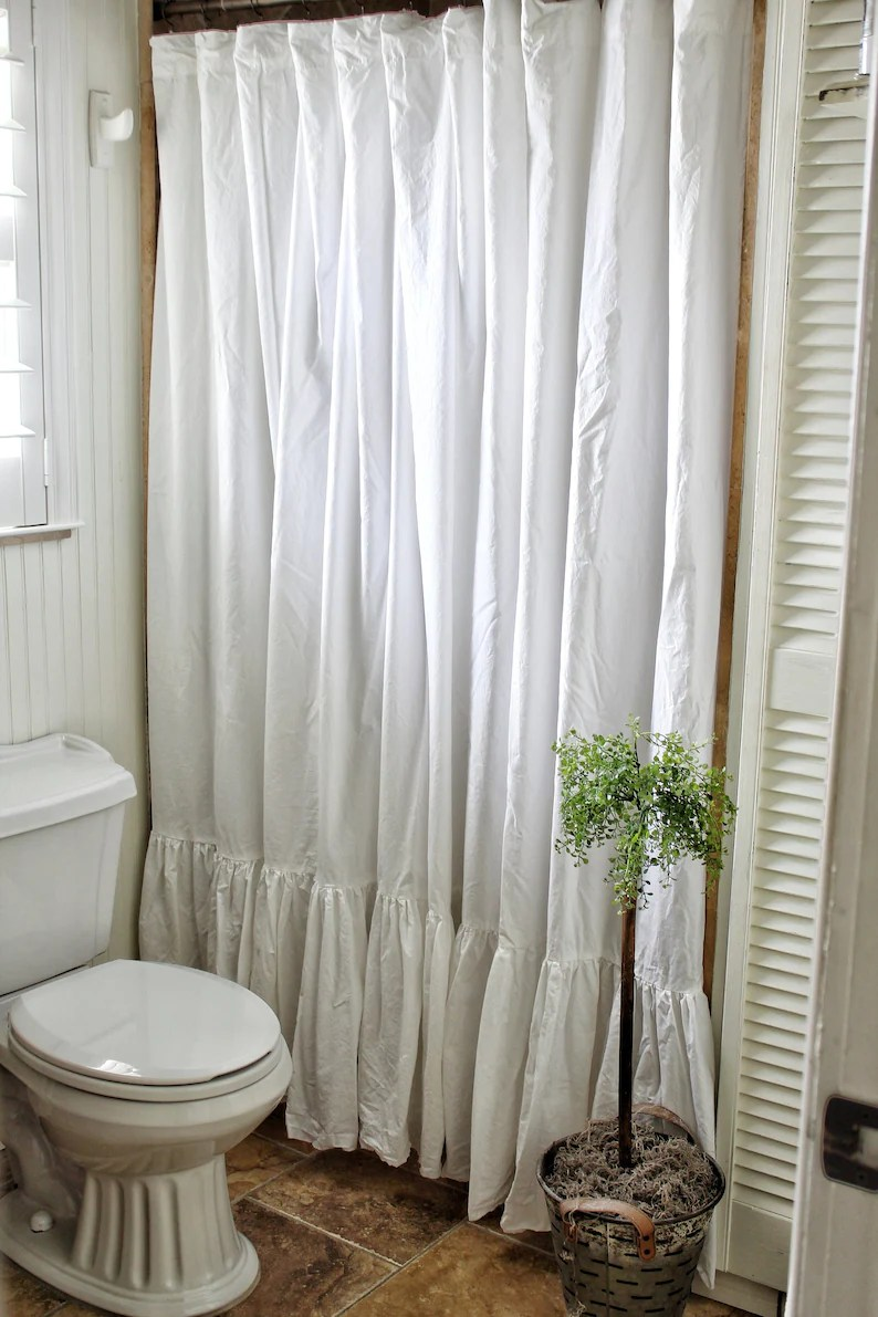 Long Shower Curtain Shabby Chic Ruffled Extra Long Shower Curtain Crisp White Washed Cotton Shabby Chic Shower Curtain