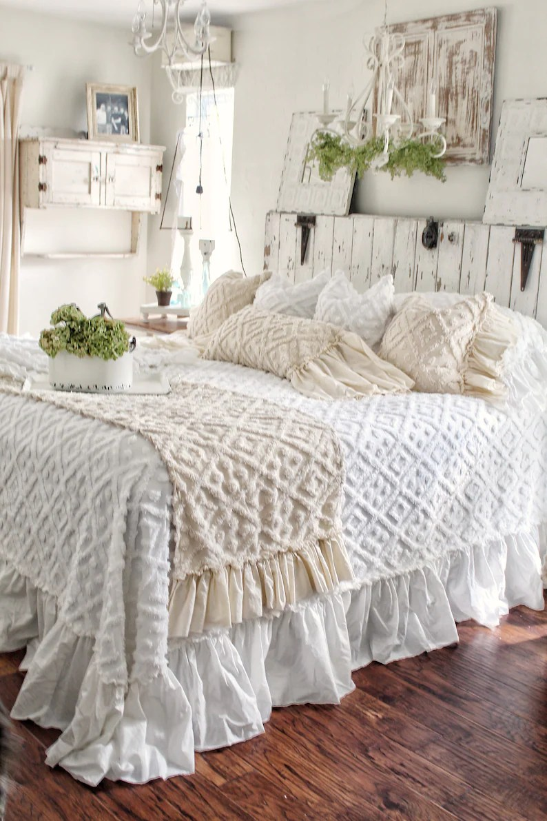 Bed Linen Ruffled Chenille Bed Scarf Chenille Ruffled Bed Linens Ruffled Bed Cover Bed Runner Bed Runner Linen Bedding Shabby Chic Bedding