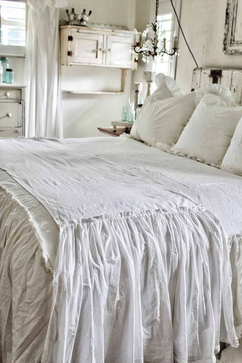 Bed Linen Ruffled Bed Scarf Ruffled Bed Linens Ruffled Bed Cover Bed Runner Ruffled Bed Bed Runner Linen Bedding Shabby Chic Bedding