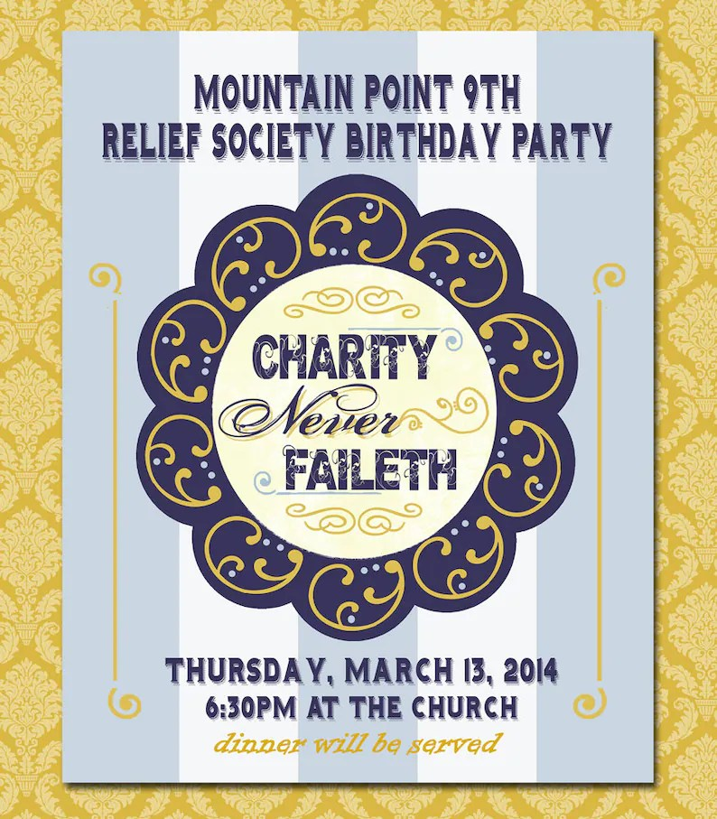 Printable Relief Society Birthday Party Poster Charity Never Etsy