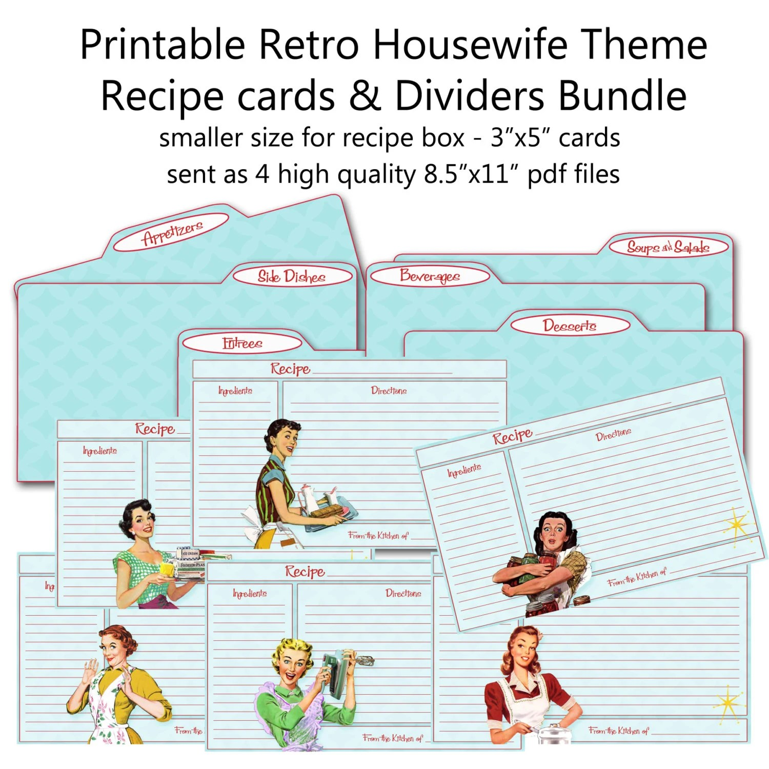 Printable 1950\u0027s Retro Housewife Recipe Cards and Divider Etsy