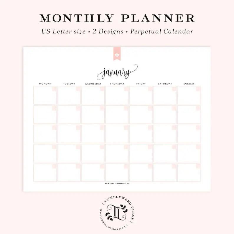Printable Calendar Undated Calendar Printable Monthly Etsy