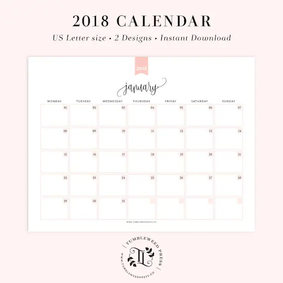 2018 Printable Calendar Monthly Planner Printable Month at a