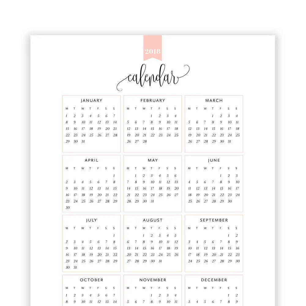 2018 Year at a Glance Calendar Year Printable Planner Yearly