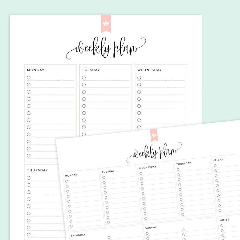 Weekly Planner Weekly Plan Printable Weekly Planner Etsy