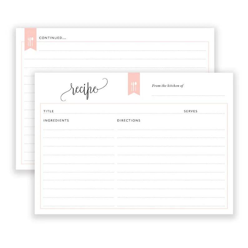 Recipe Cards Printable Bridal Shower Recipe Card 6x4 Recipe Etsy