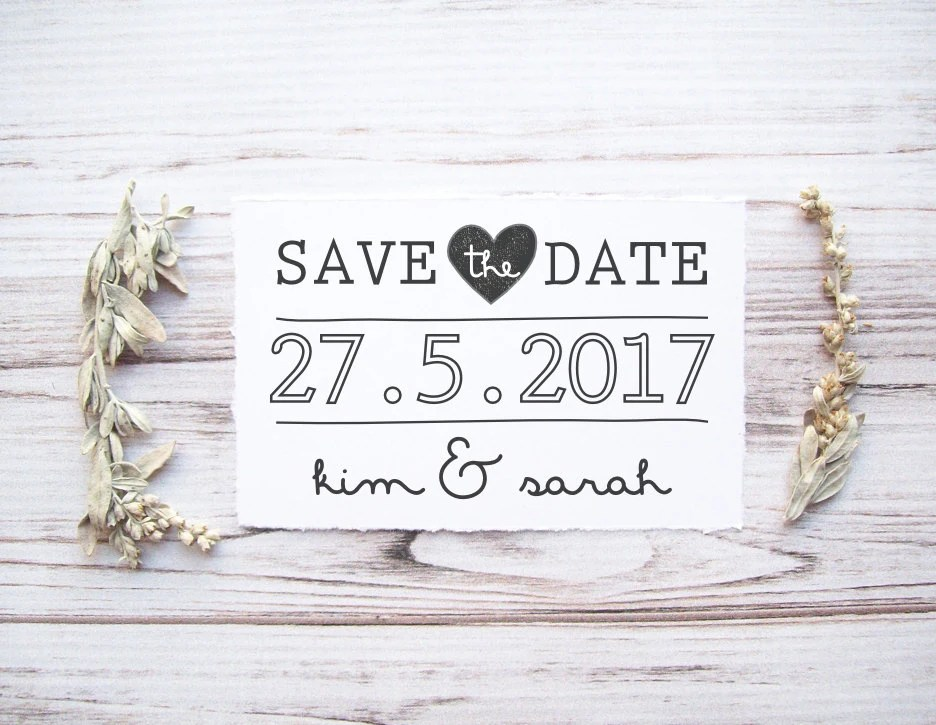 Save the Date Stamp Custom Wedding Stamp with Names Etsy