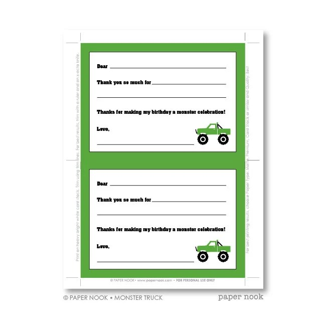 Monster Truck PRINTABLE Fill-in-the-Blank Thank You Note Etsy