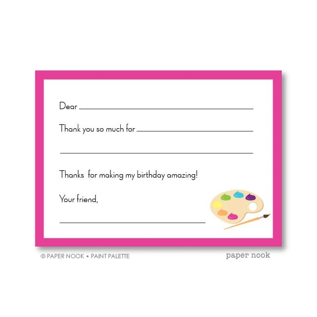Paint Palette PRINTABLE Fill-in-the-Blank Thank You Note Etsy