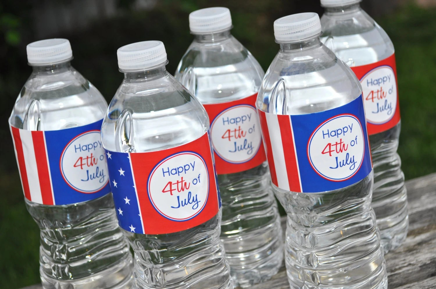 4th of July Water Bottle Labels Water Bottle Wraps Fourth of Etsy
