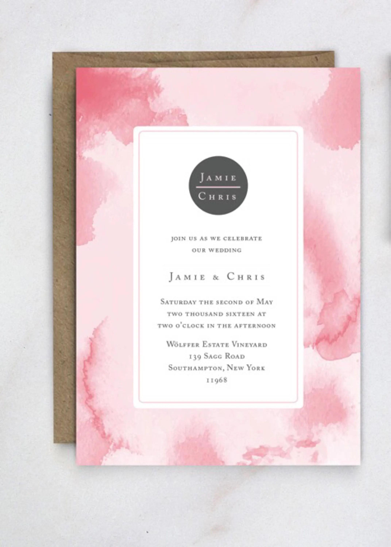 Watercolor Wedding Invitation template Watercolor Wedding Etsy
