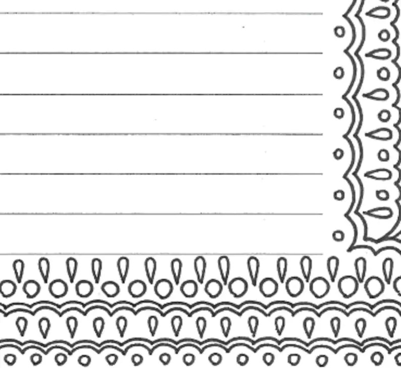 Lined writing paper stationery page printable adult coloring Etsy