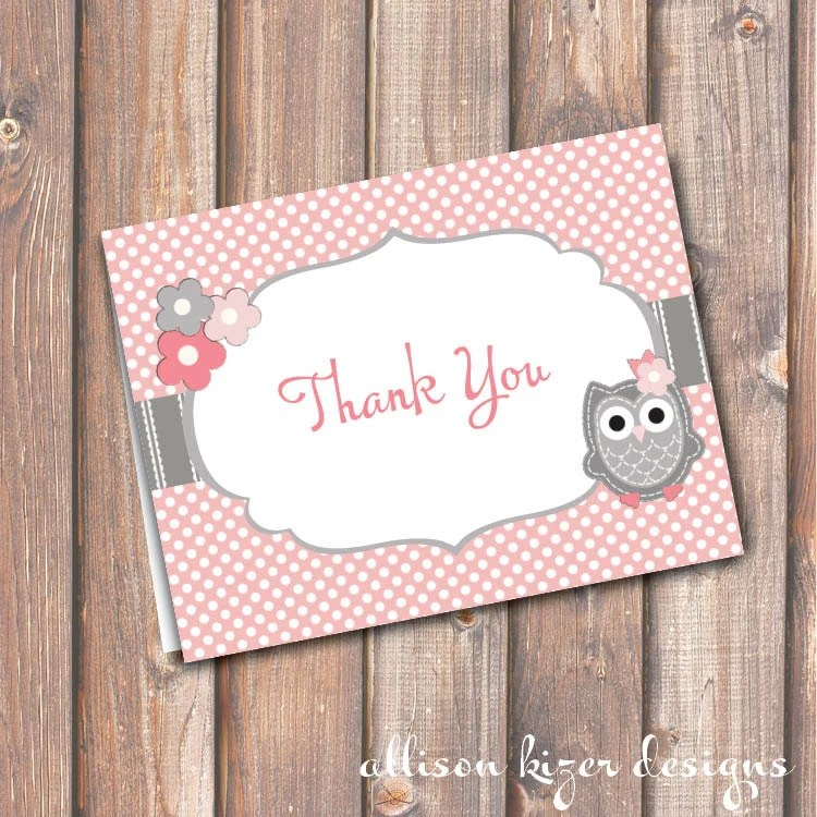 Baby Shower Pink Owl Thank You Printable Stationery Pink  Etsy