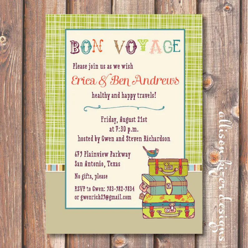 Boho Going Away Party Invite Printable Lime Green Suitcases Etsy