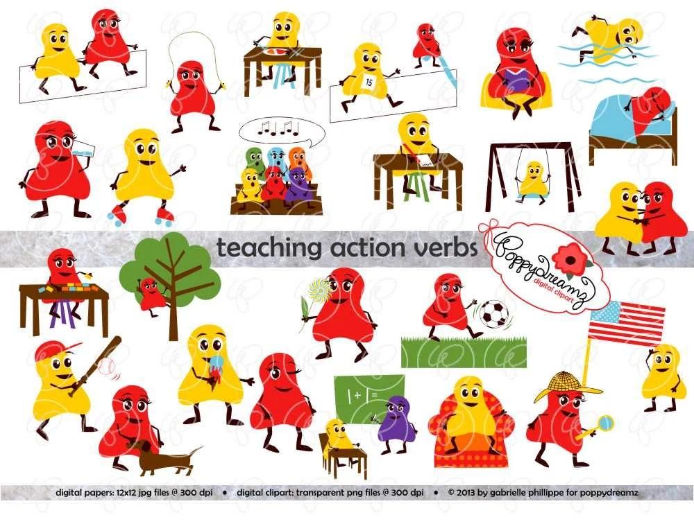 Teaching Action Verbs Clipart  Digital Flashcards Digital Etsy